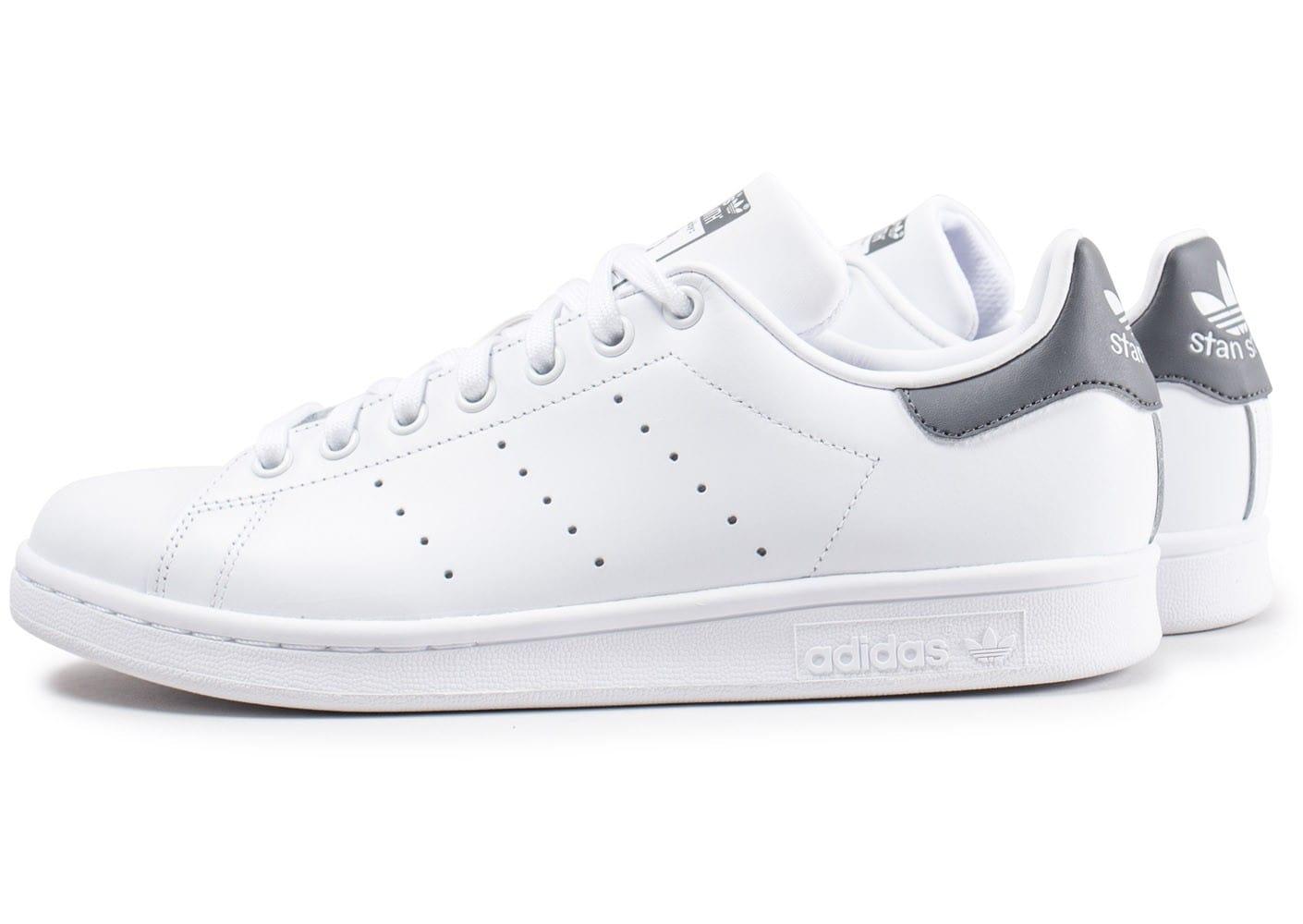 adidas stan smith j blanc metallic argent blanc   Pas cher